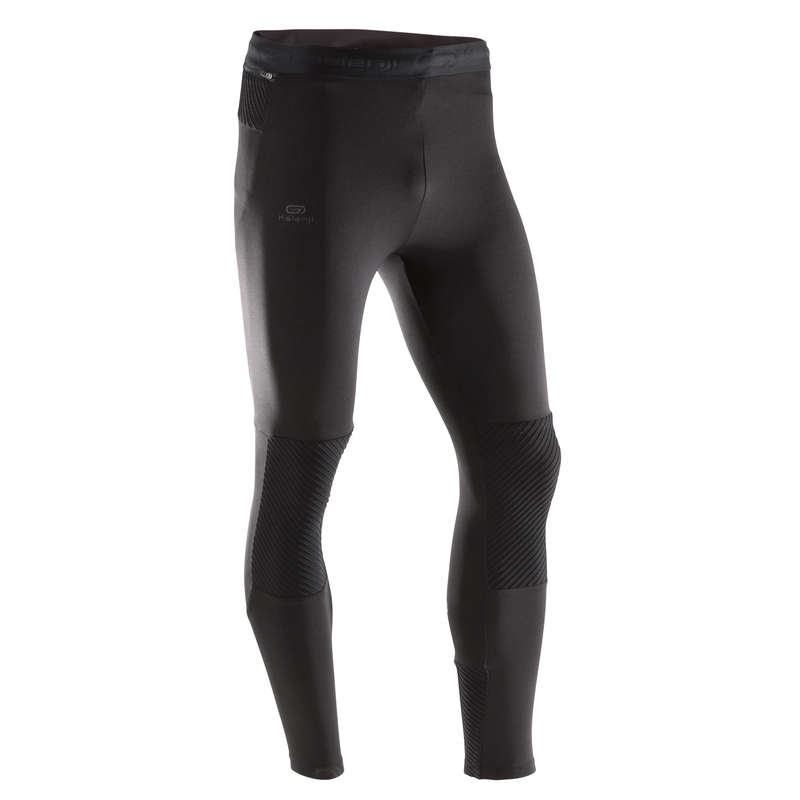 REGULAR MAN JOGGING COLD WTHR CLOTHES Clothing - RUN WARM+ TIGHTS - black KALENJI - Bottoms