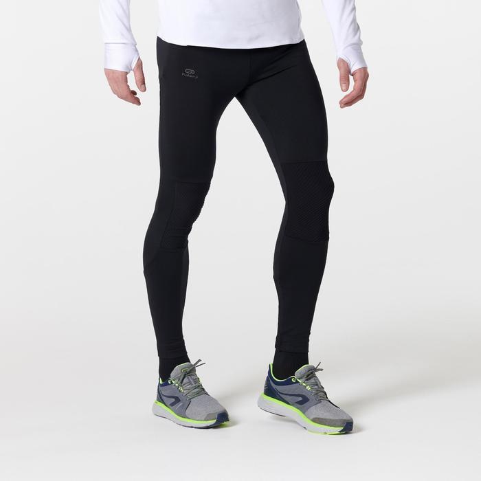 男款跑步緊身褲RUN WARM+ - 黑色