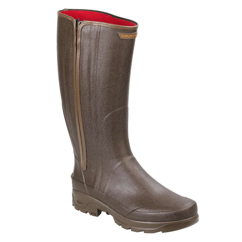 INSULATED REINFORCED WELLIES Shooting and Hunting - WARM ZIP BOOTS RENF 540 BROWN SOLOGNAC - Shooting and Hunting