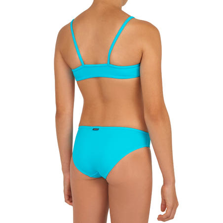 GIRLS' two-piece SURFING swimsuit BIKINI TOP BALI 100 - BLUE