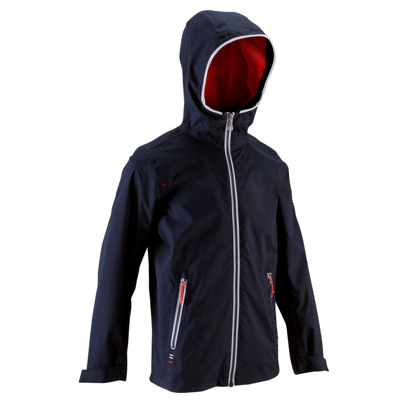 100 Kids' Waterproof Sailing Oilskin - Dark Blue