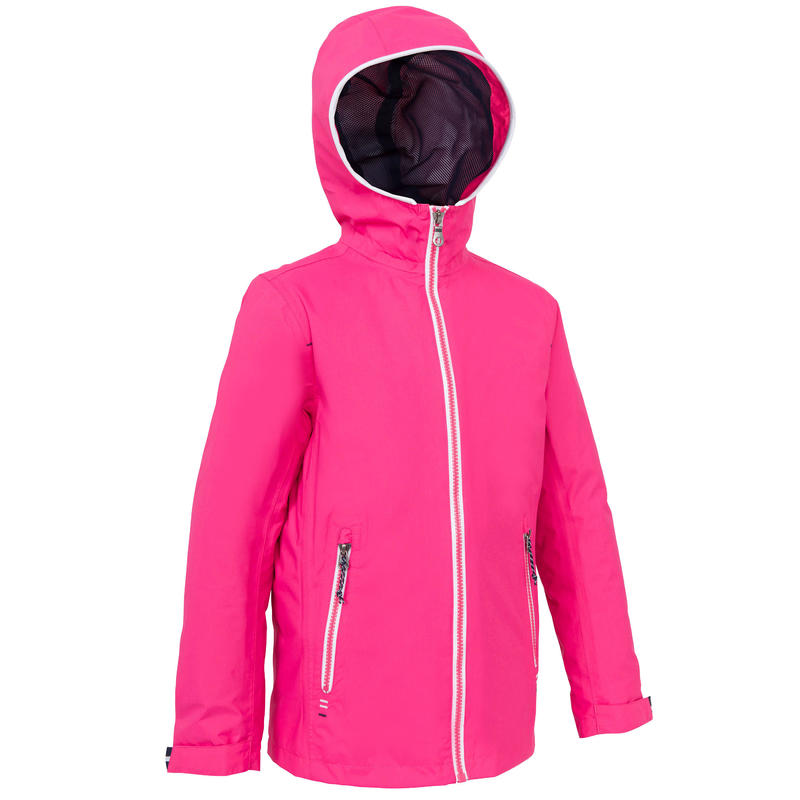 100 Kids' Waterproof Sailing Oilskin - Bright Pink