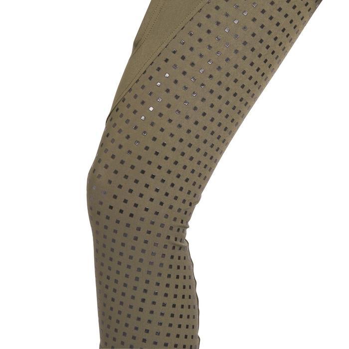 Pantalón de equitación mujer 980 LIGHT badana de silicona caqui