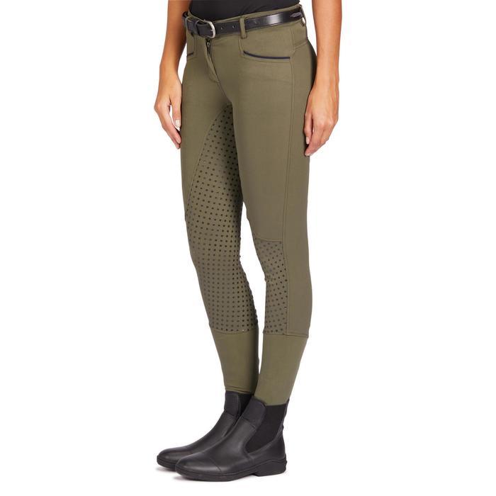 Damesrijbroek ruitersport 580 Fullgrip silicone zitvlak kaki