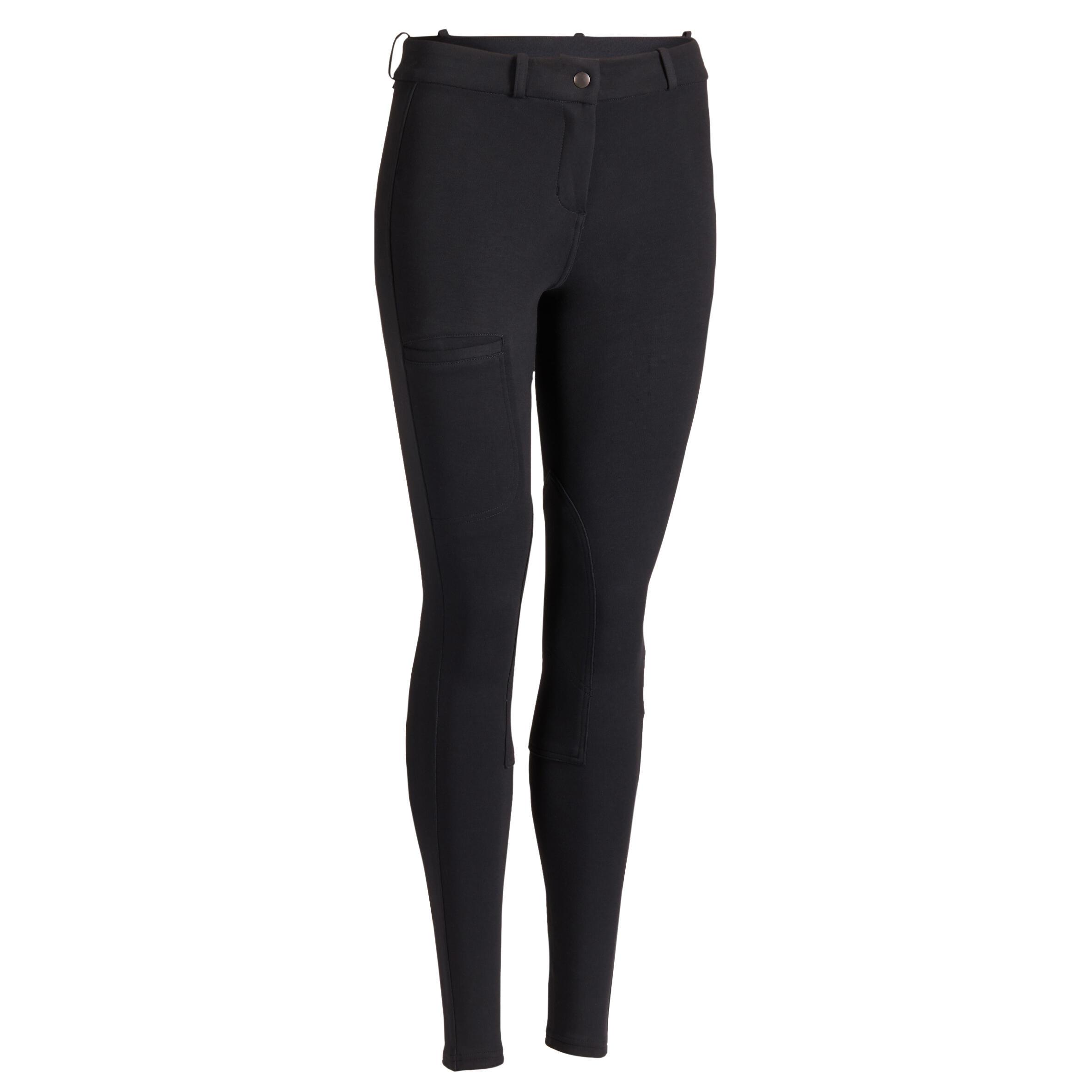 Reithose 100 Kniebesatz Damen schwarz | Sportbekleidung | Fouganza