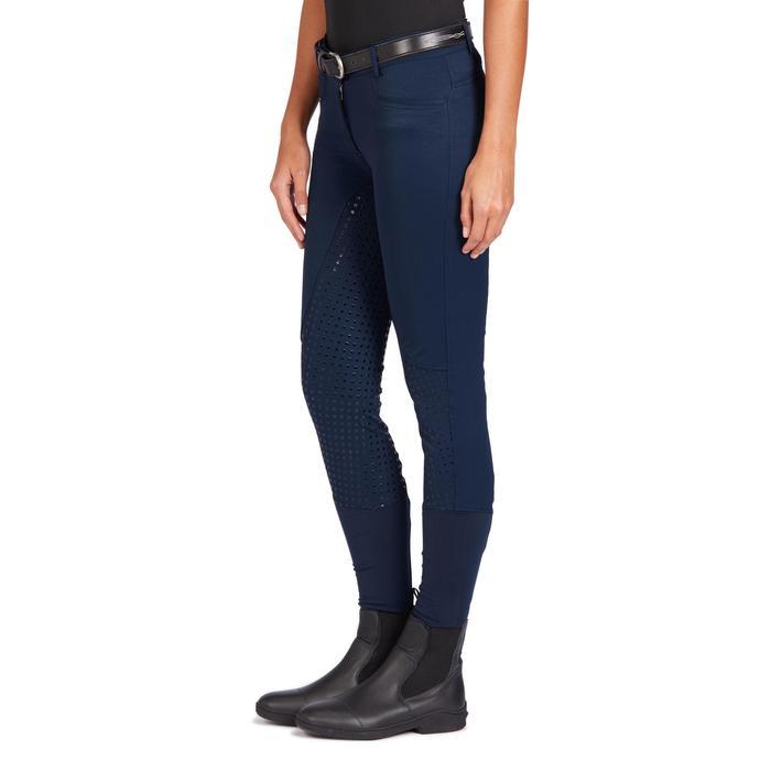 Pantalon équitation femme 580 FULLGRIP assise silicone marine