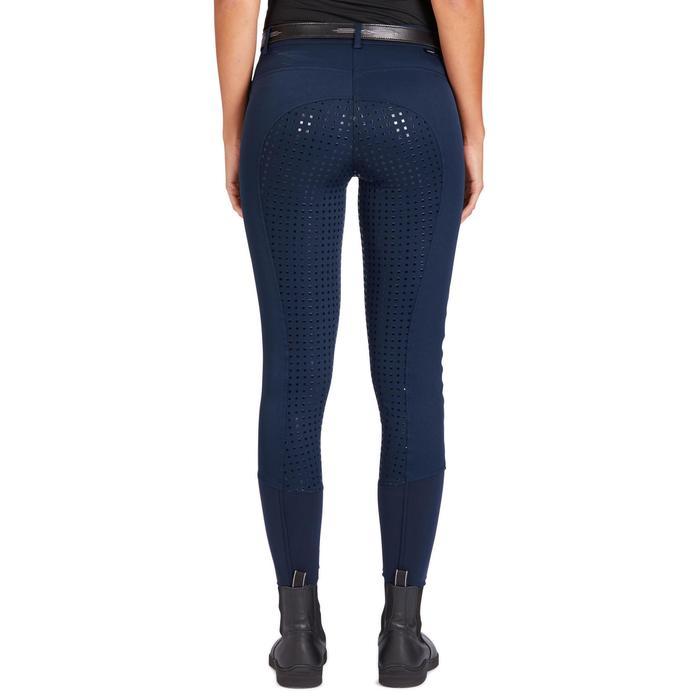 Pantalón Equitación Fouganza 580 Fullgrip Mujer Azul Marino Badana y Culera Sili
