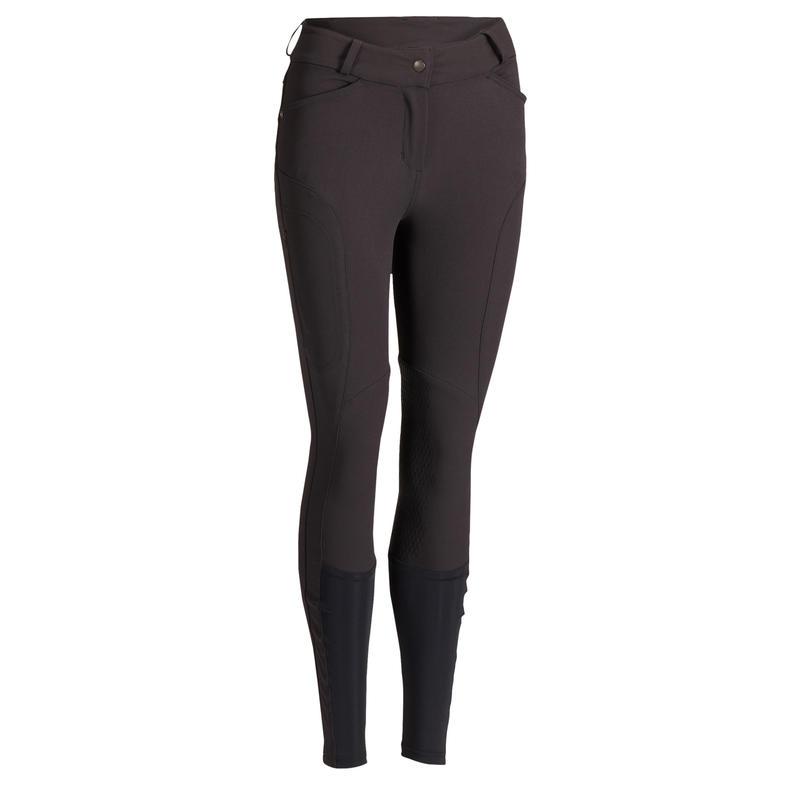 Pantalon équitation femme 560 Saut basanes silicone noir