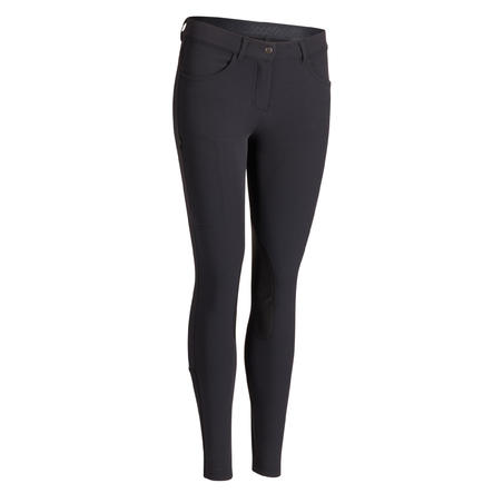 500 Women's Horse Riding Jodhpurs with Grippy Patches - Black