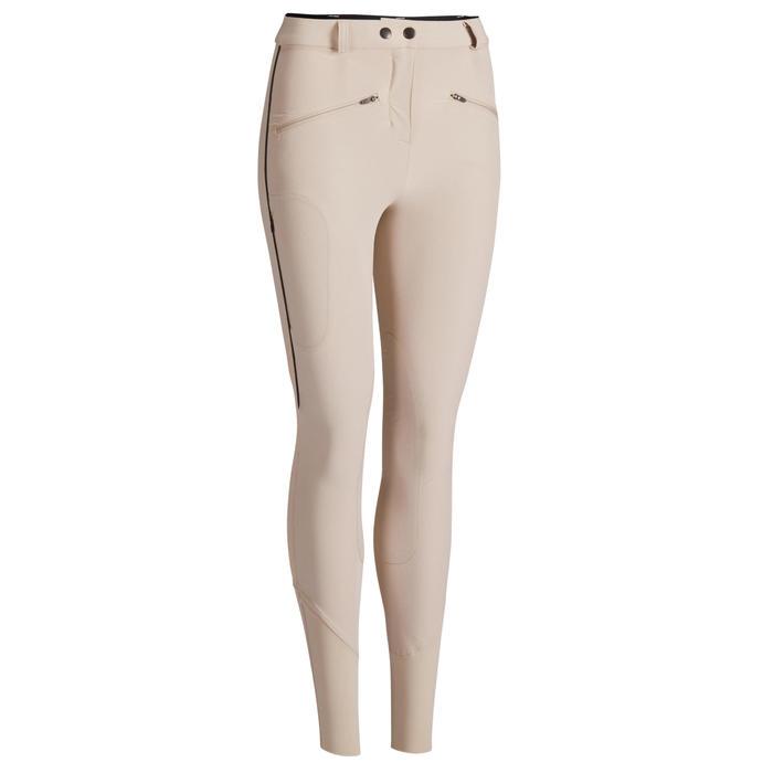 Pantalon léger d'équitation femme 500 MESH beige