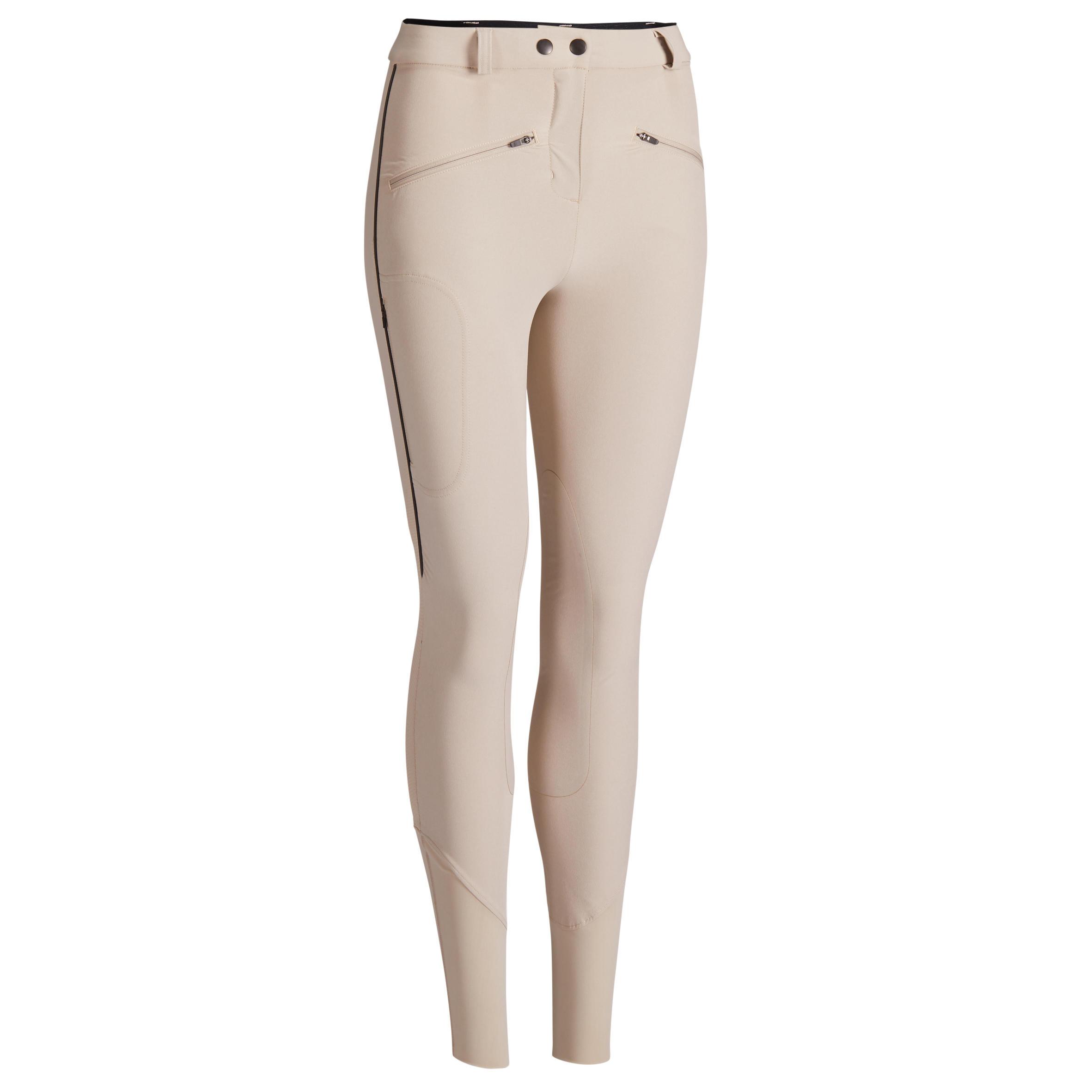 Reithose 500 Light Kniebesatz Damen beige | Sportbekleidung > Sporthosen | Beige | Fouganza