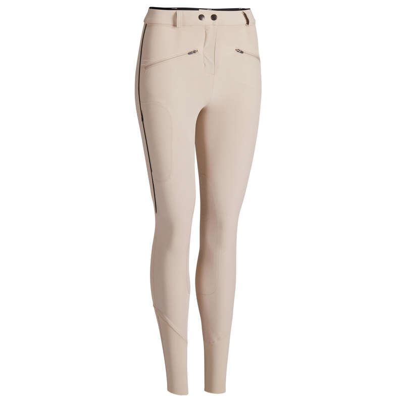 WOMAN HOT WEATHER RIDING WEAR Horse Riding - 500 Mesh Jodhpurs - Beige FOUGANZA - Horse Riding Clothes