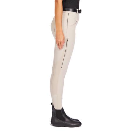 Pantalon léger d'équitation femme 500 MAILLE beige