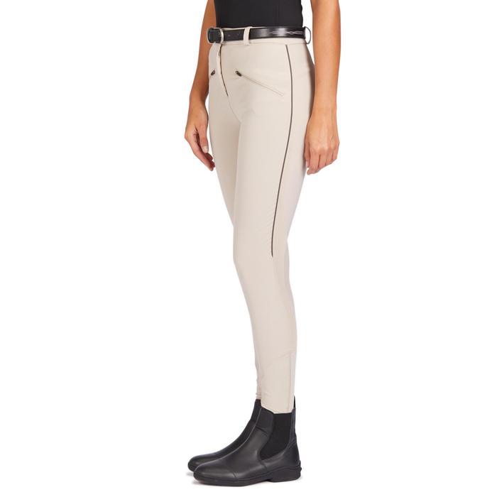 Pantalón equitación mujer 500 MESH beige