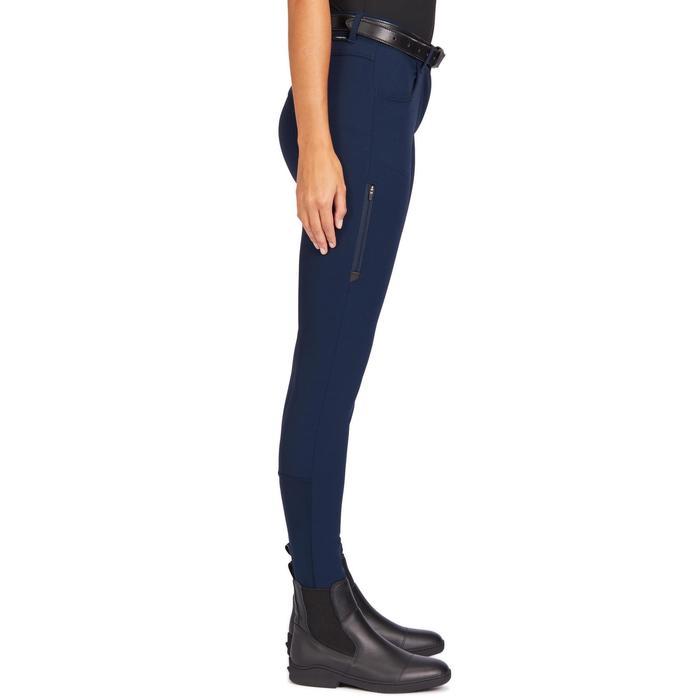 女款防滑馬褲500-軍藍色
