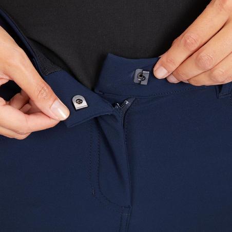 Pantalón de equitación para mujer 500 badanas adherentes azul marino