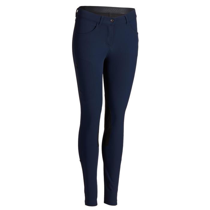 Rijbroek voor dames 500 met antislip knie-inzetten marineblauw