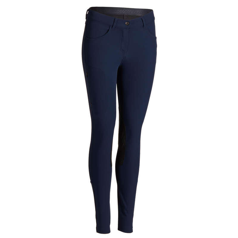 WOMAN RIDING WEAR Horse Riding - 500 Jodhpurs - Navy FOUGANZA - Horse Riding Clothes