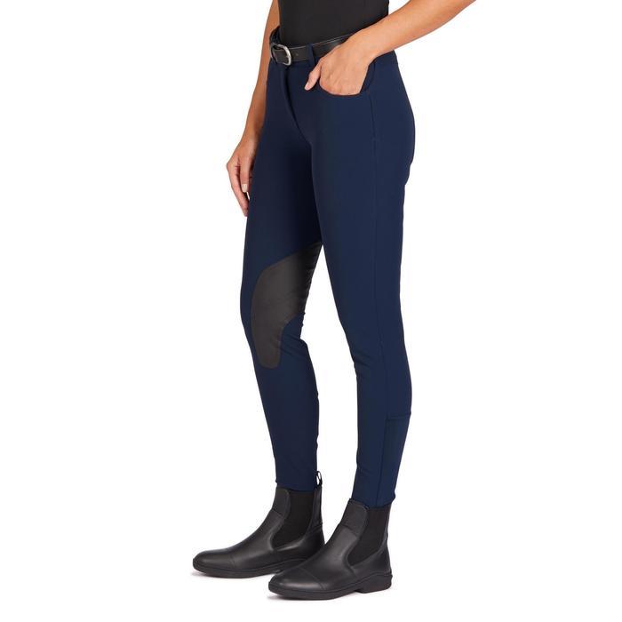 Reithose 500 rutschfester Kniebesatz Damen marineblau