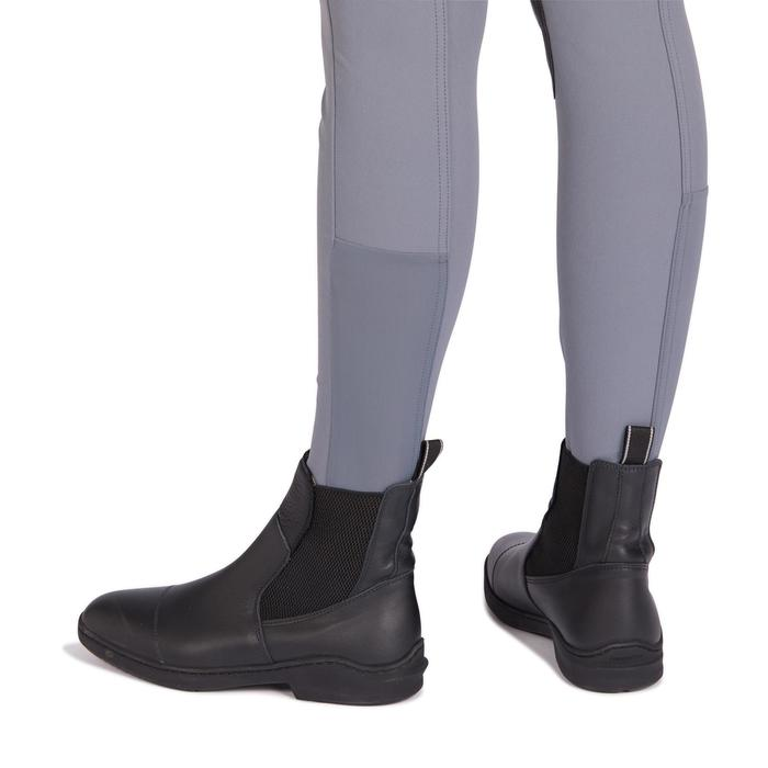 Reithose 500 rutschfester Kniebesatz Damen grau