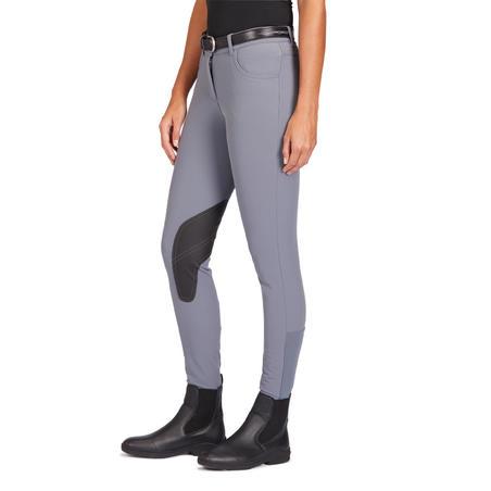 Pantalon équitation femme 500 basanes agrippantes gris