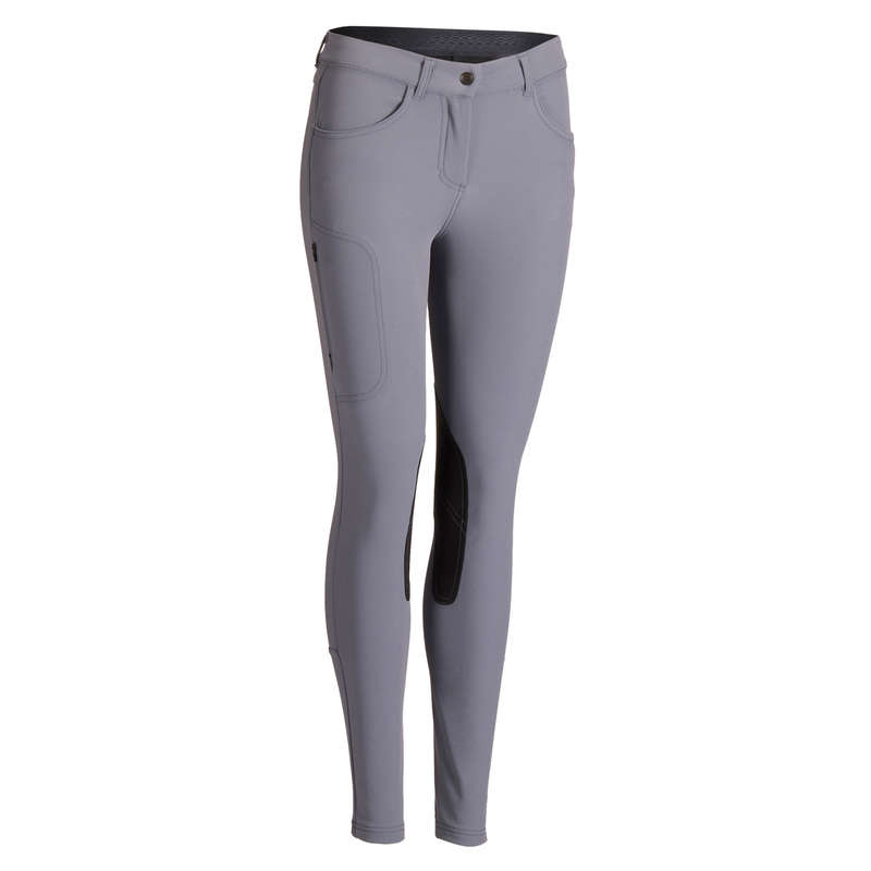 WOMAN RIDINGWEAR Horse Riding - 500 Jodhpurs - Grey FOUGANZA - Horse Riding Clothes