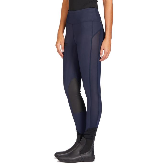 Reitleggins 100 Light Kniebesatz Damen marineblau