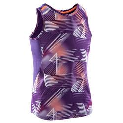Camiseta sin mangas de atletismo niña Run dry+ morada