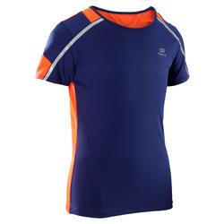 Camiseta Manga Corta Deportiva Atletismo Running Kalenji Kiprun Niños Azul/Rojo