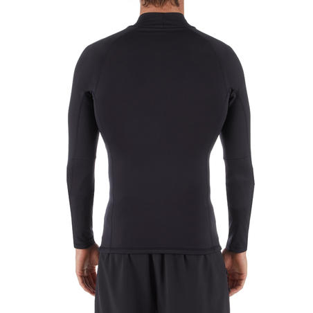 Men's Surfing Thermal Fleece Long Sleeve T-shirt 900 - Black