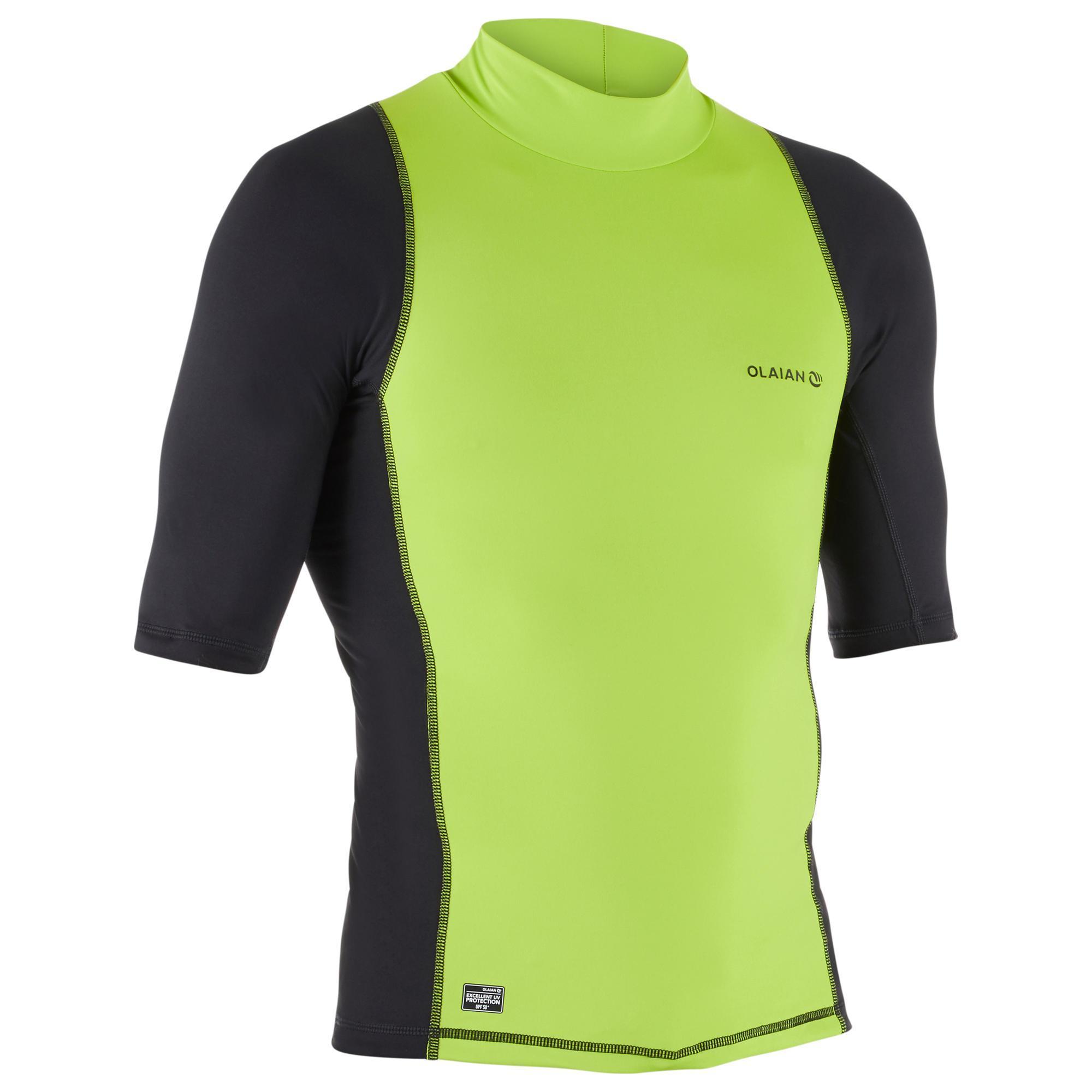 UV-Shirt kurzarm Surfen Top 500 Herren grün