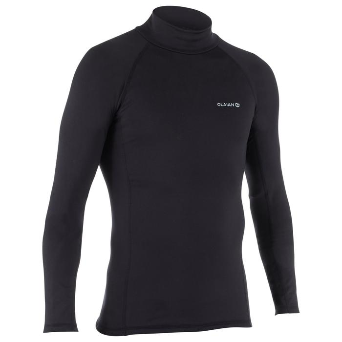 男款保暖刷毛衝浪長袖T恤900-黑色