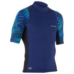 Top Camiseta Proteción Solar Playa Surf Olaian Top500 Hombre Azul Negro ANTI-UV