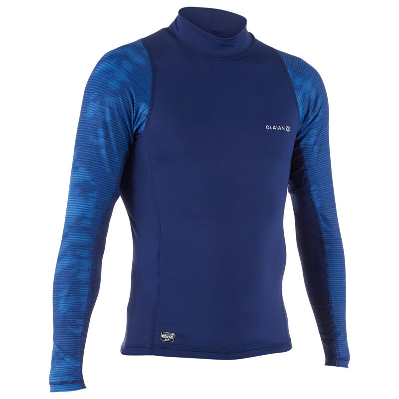 500 Men's Long Sleeve UV Protection Surfing Top T-Shirt - Cosmos Blue
