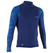 MEN'S LONG SLEEVE UV RASH GUARD SURFING TOP 500 - COSMOS BLUE