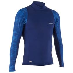 Camiseta anti-UV de surf top 500 manga larga hombre azul cosmos