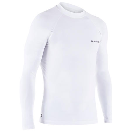 100 Men's Long Sleeve UV Protection Surfing Top T-Shirt - White