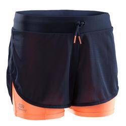 女童田徑短褲Kiprun深灰色橘色螢光珊瑚紅