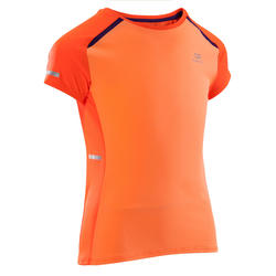 Kiprun girls' track T-shirt - coral/red/purple