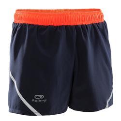 Pantalón corto de atletismo kiprun niño rojo grisáceo fluorescente