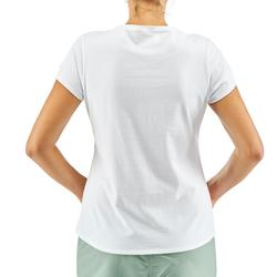 Women's country walking t-shirt with pocket NH500 - white