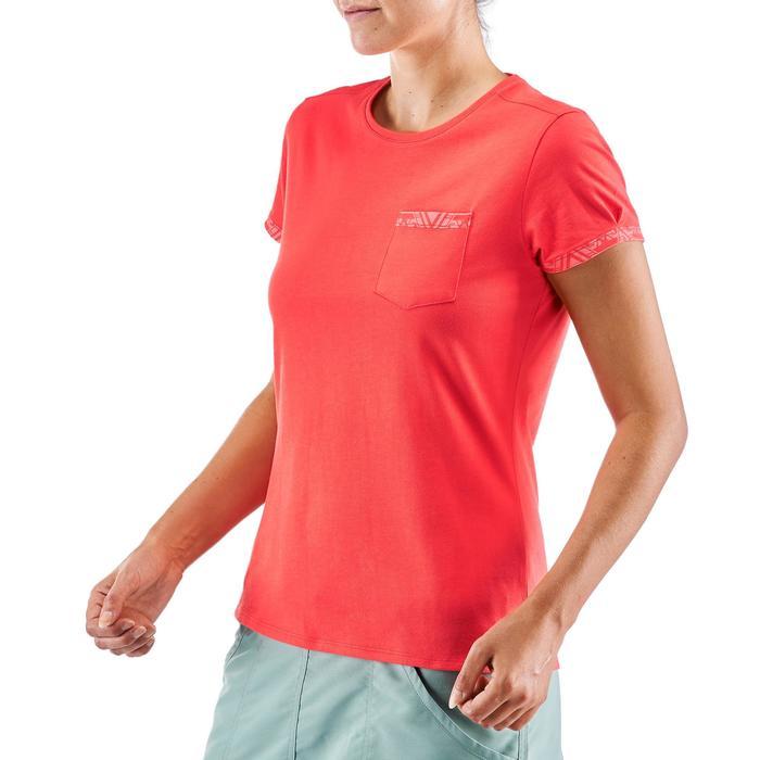 女款郊野健行口袋T恤NH500-紅色