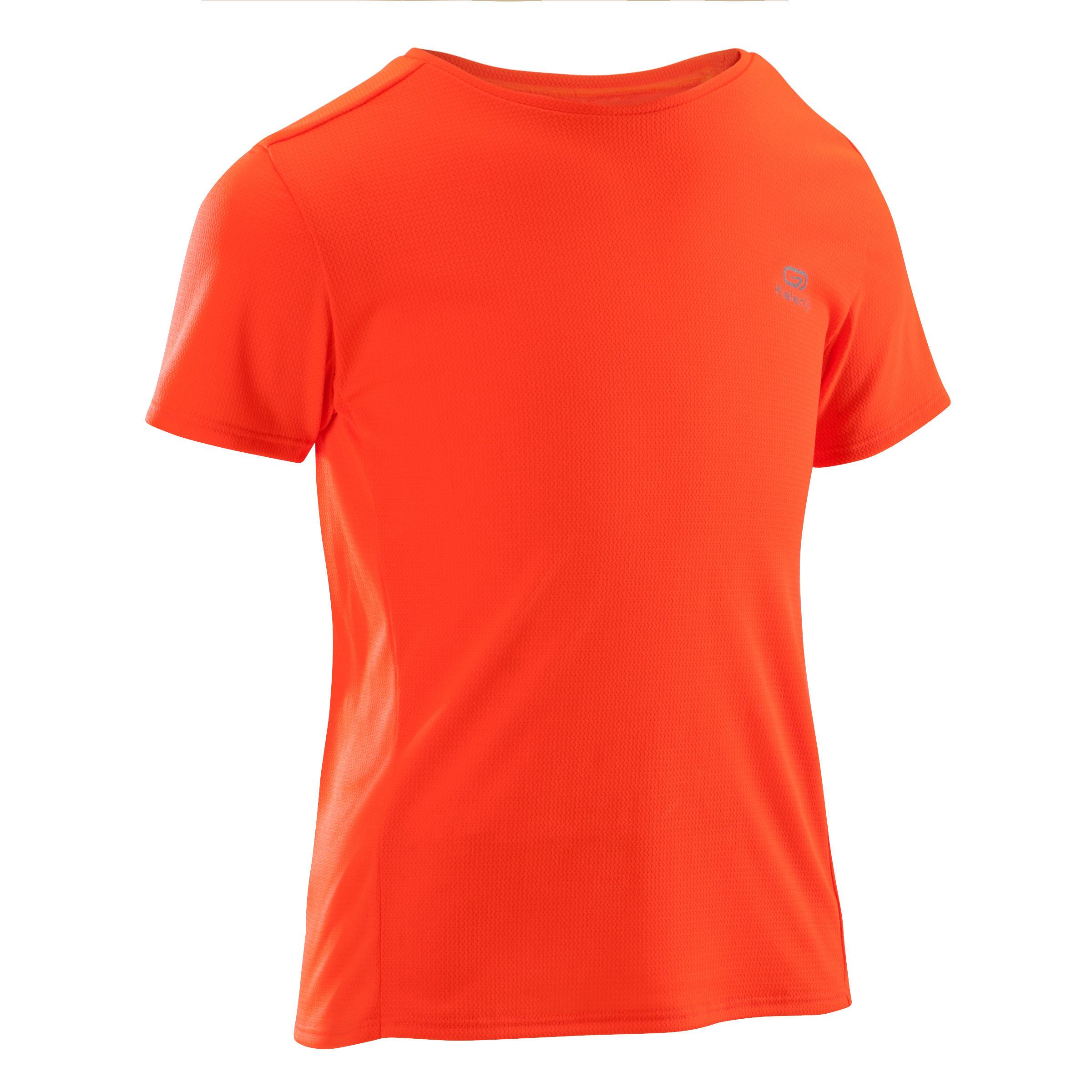 Camiseta de atletismo run dry niños roja flúor