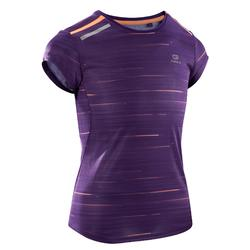 Camiseta Manga Corta Deportiva Running Kalenji Run Dry+ Niña Violeta Estampado
