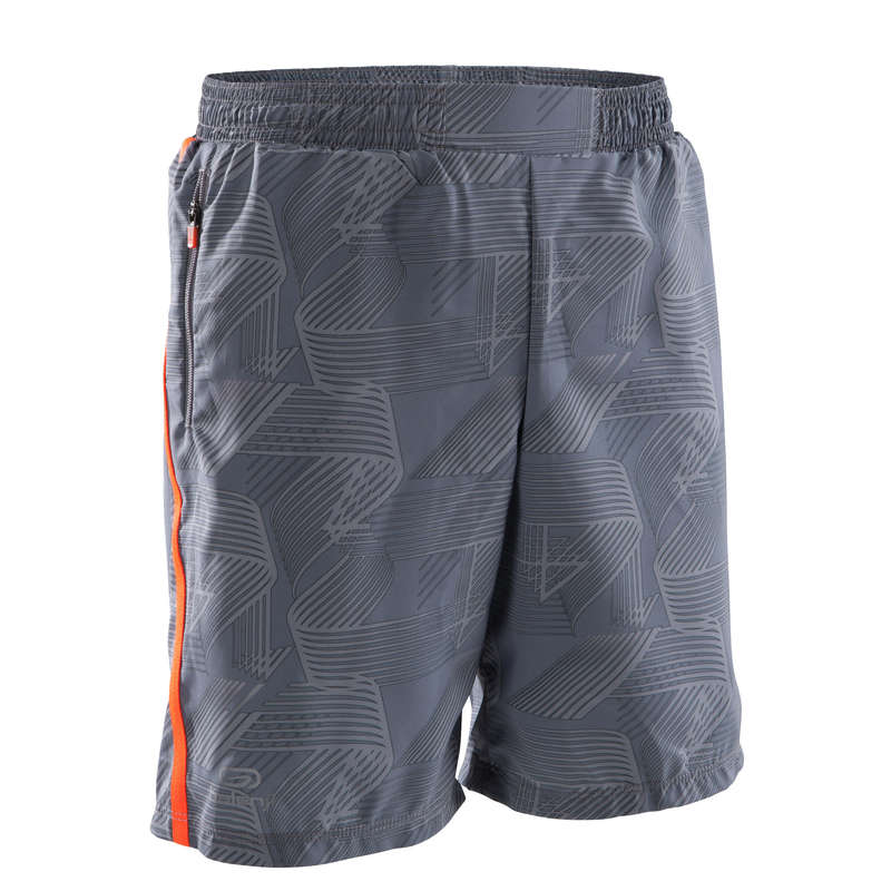 KIDS ATHLETICS CLOTHES ACCESS Clothing - CHILD BAGGY SHORTS GREY ORANGE KALENJI - By Sport