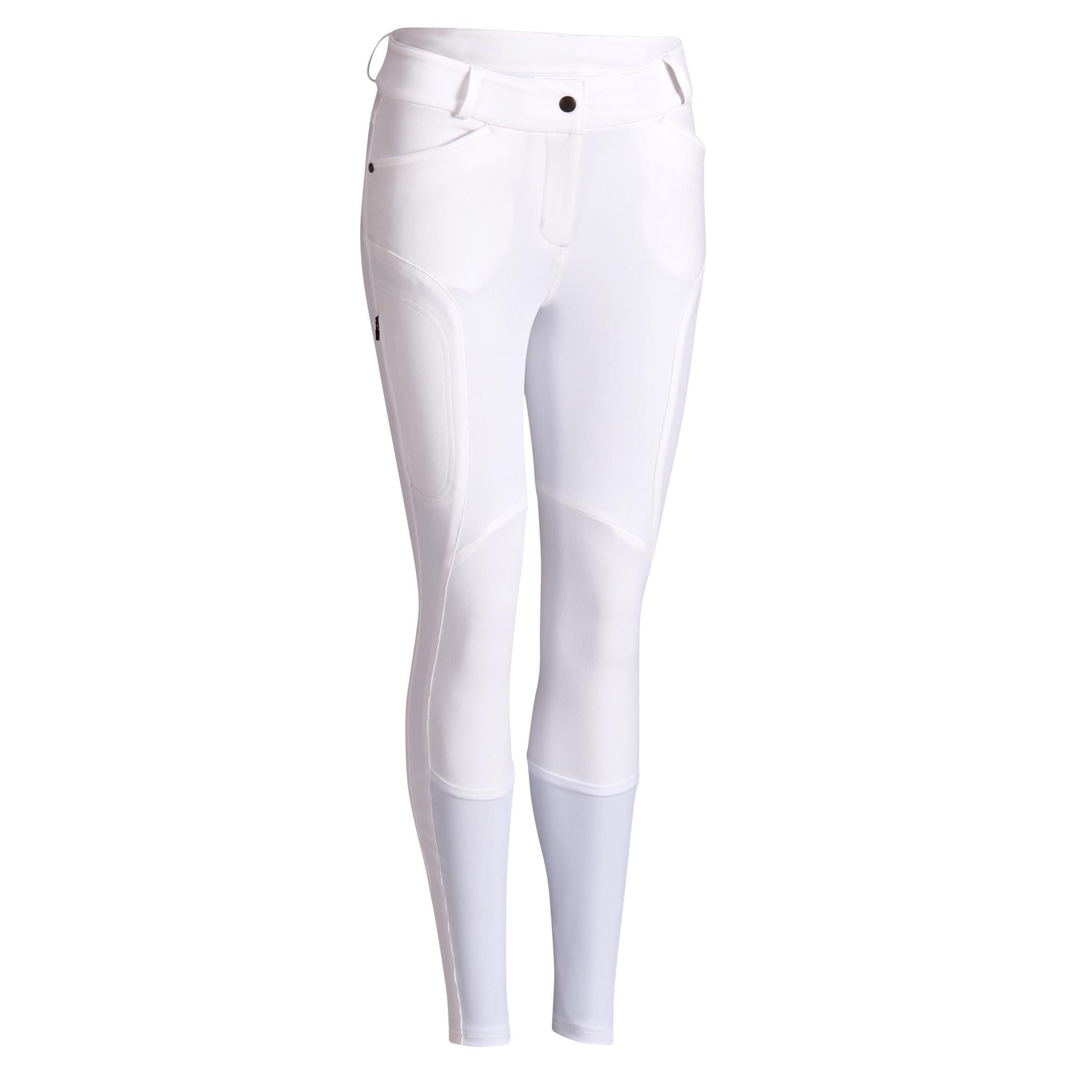 Pantalon concours équitation femme 560 grip jump basanes silicone blanc fouganza