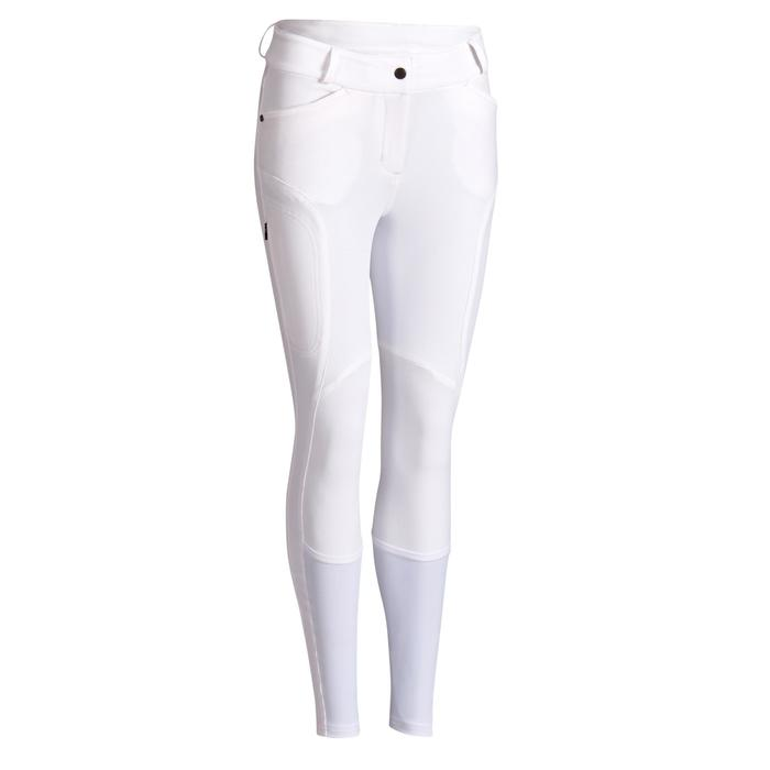Pantalon concours équitation femme 560 GRIP JUMP basanes silicone blanc