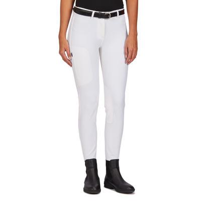 Pantalón Concurso Equitación Fouganza 500 Mujer Blanco Badanas Sintéticas