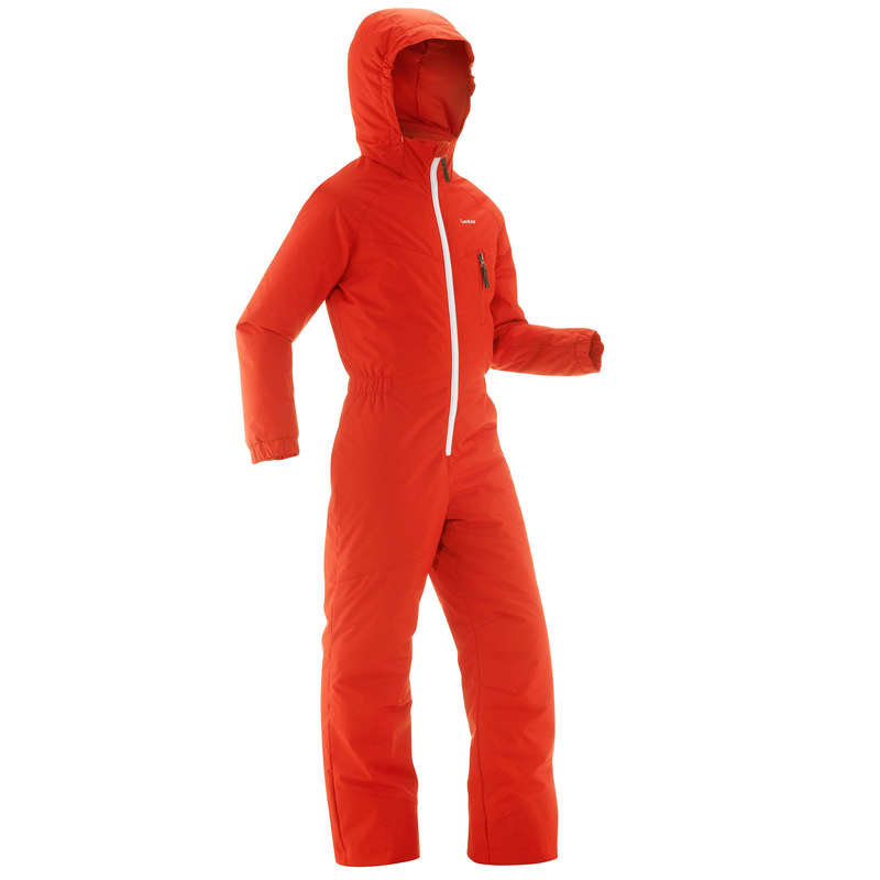 BOY BEGINNER ON PISTE SKIING CLOTHS Outdoor Activities - SKI-P 100 JR SUIT - RED ORANGE WEDZE - Outdoor Activities