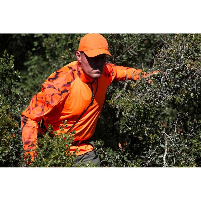 T-SHIRT CHASSE MANCHES LONGUES SUPERTRACK ORANGE FLUO